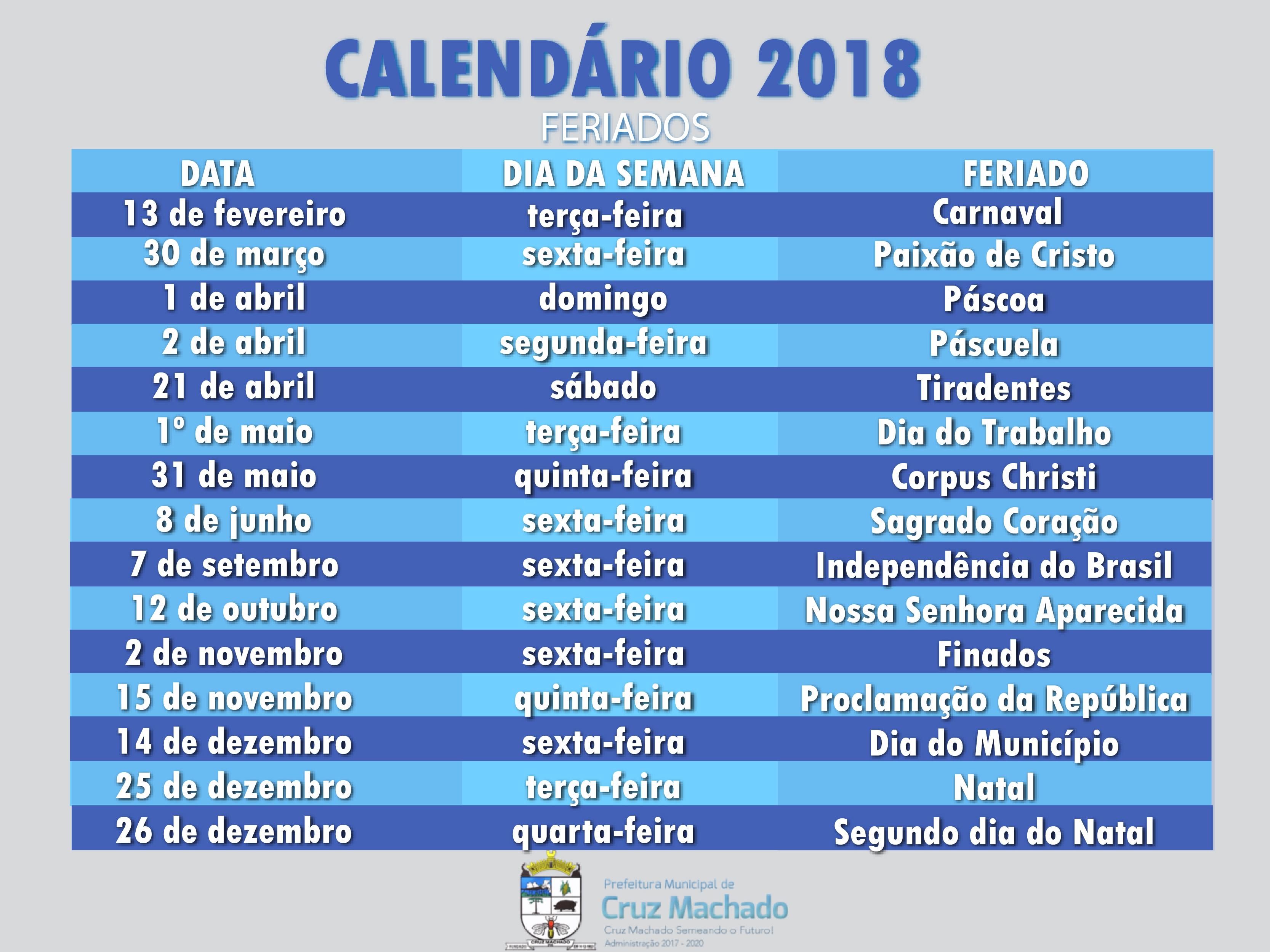 Calendario 2020 Brasil Com Feriados.Prefeitura Municipal De Cruz Machado Pr